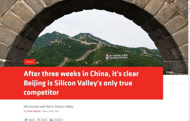 Beijing is sillicon valley's only true competitor